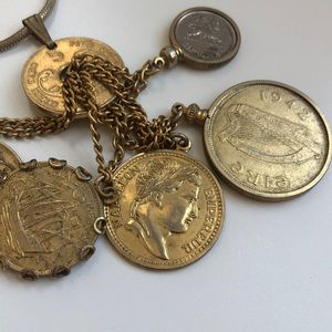 Vintage Jewelry - Vintage gold multi coin necklace